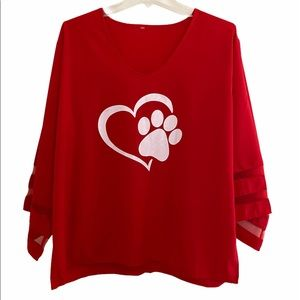 Tops - Adorable Dog Paw Heart Top